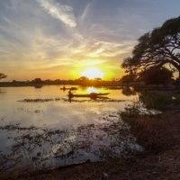Coucher de soleil sur le lac Fitri en crue
