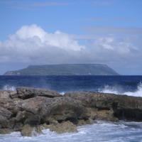 Guadeloupe. Grande Terre. La Désirade vue de la Pointe des Châteaux